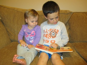 Ethan is reading well so now I am working on getting him to enjoy reading-some days that is easier than others.  He now reads to Nora one day a week and they have a lot of fun together.  I even caught him reading a book to several children at a friends house while the adults were fellowshipping.