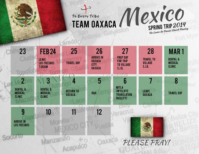 Team Mexico Spring Trip Prayer calendar