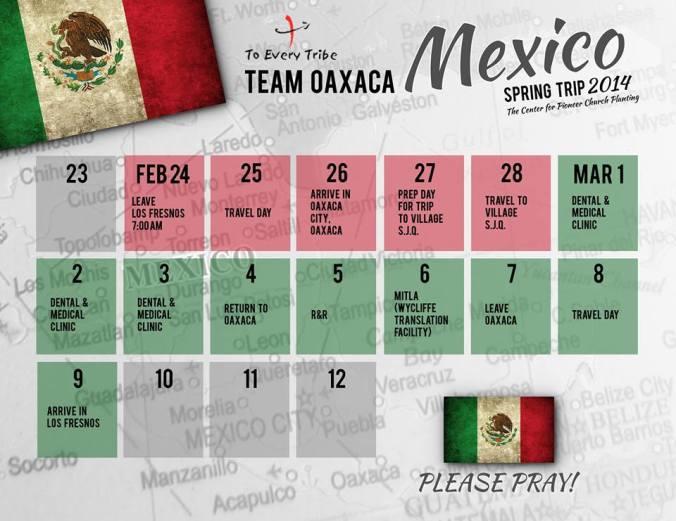 Team Mexico Spring Trip Prayer calendar