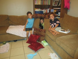 Ethan, Titus and Nora even got inspired to do their own field survival training. What do you think of their shelter?